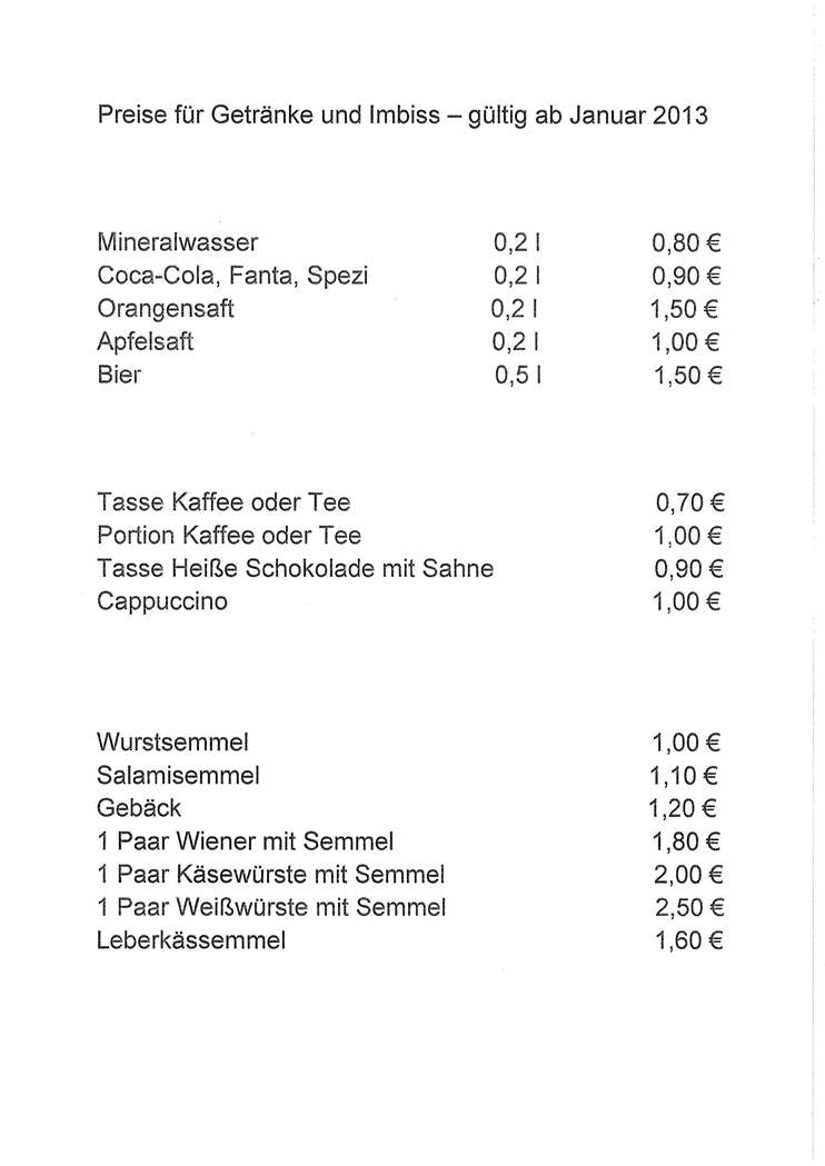 Tolle Preisliste Getränke Fotos - Innenarchitektur-Kollektion ...